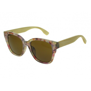 Sunglasses Polarised 'Carmen' White Multi/Bamboo
