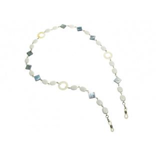Glasses Chain 'Natural Shell Square/Circle' White