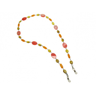 Glasses Chain 'Natural Shell Oval' Amber/Pink