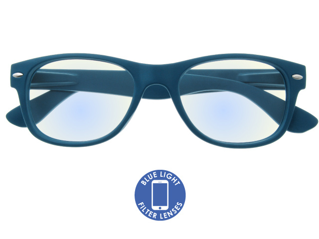 Blue Light Non-Prescription Glasses 'Billi' Matt Blue