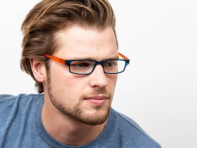 Reading Glasses 'Neck Specs' Blue/Orange