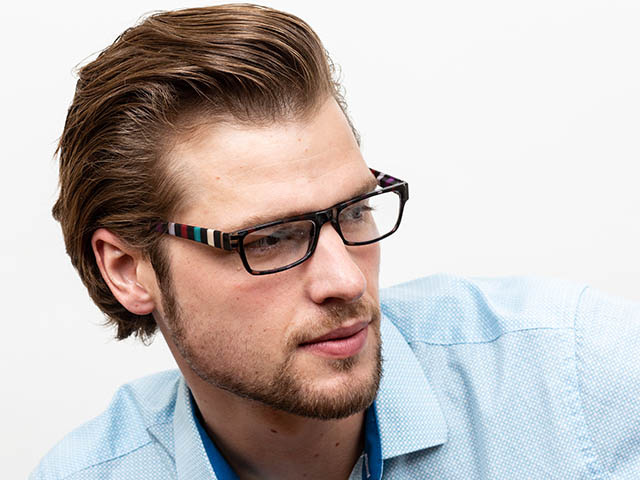 Reading Glasses 'Allsorts' Black/Multi-Stripe