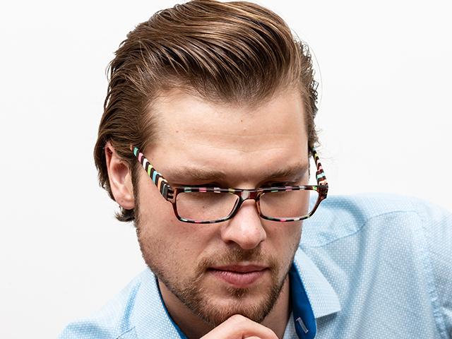 Reading Glasses 'Allsorts' Brown/Multi-Stripe