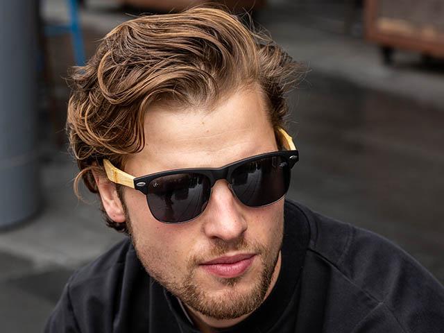 Sunglasses Polarised 'Morgan' Matt Black/Bamboo