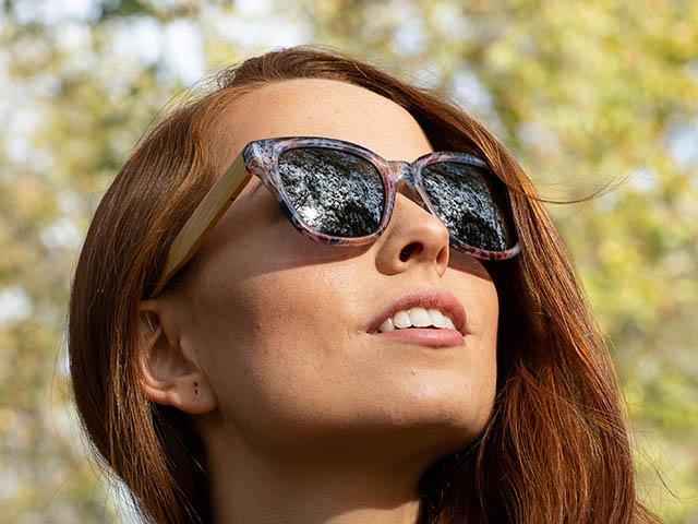 Sunglasses Polarised 'Carmen' Purple Multi/Bamboo