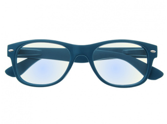 Goodlookers Blue Light Reading Glasses 'Billi' Matt Blue Front View