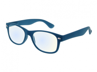 Goodlookers Blue Light Reading Glasses 'Billi' Matt Blue Side View