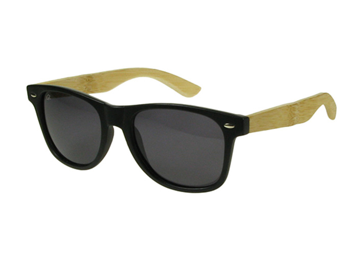 Sunglasses Polarised 'Ash' Matt Black/Bamboo