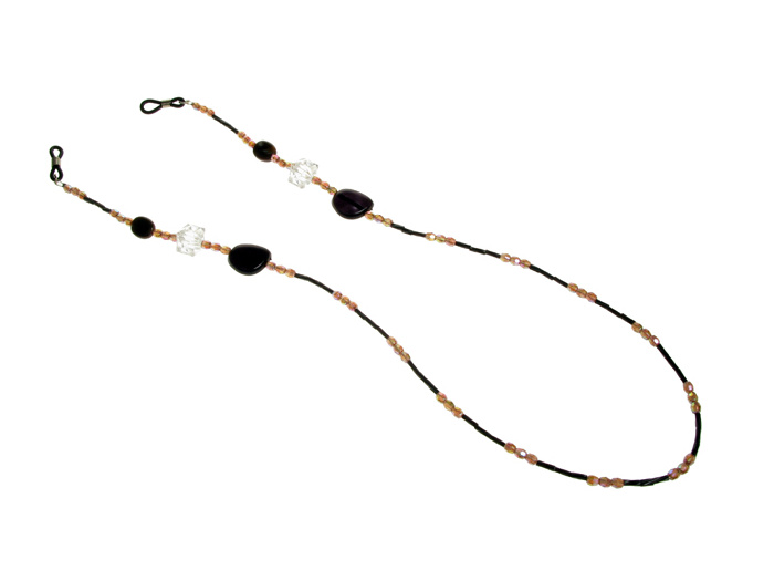 Glasses Chain 'Iridescent Bead' Brown/Black