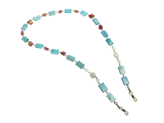 Glasses Chain 'Natural Shell Rectangular' Blue