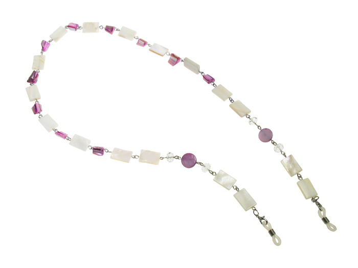 Glasses Chain 'Natural Shell Rectangular' White
