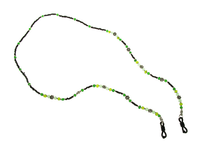 Glasses Chains 'Daisy Bead' Black/Green