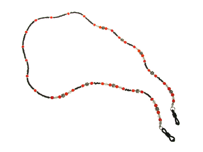 Glasses Chain 'Daisy Bead' Black/Red
