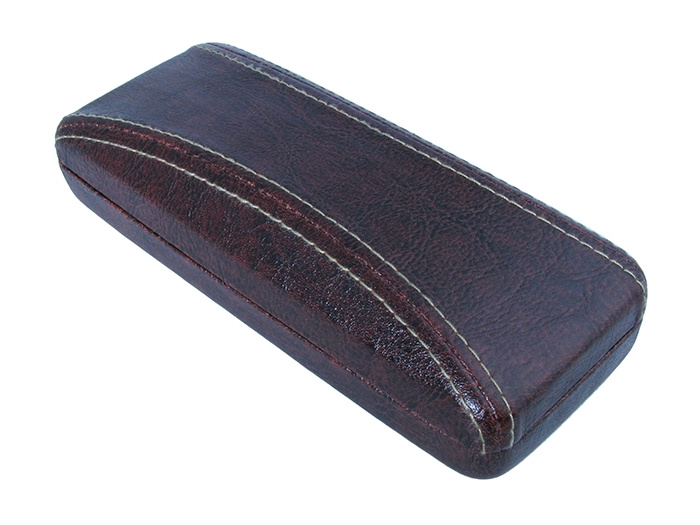 Glasses Case 'Aged Leather Look Stitched' Brown